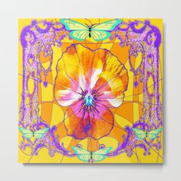 Golden Pansy & Turquoise Butterflies Lilac Filigree Abstract Metal Print
