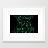 green lantern Framed Art Prints featuring Lantern - green by Emma Stein