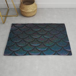 Midnight Blue Black Scales Rug