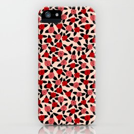 Red and Pink Rose Pattern iPhone Case