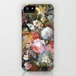 Worn vintage floral wood panel iPhone Case