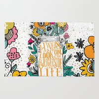 bright Area & Throw Rugs featuring ALWAYS LOOK ON THE BRIGHT SIDE... by Matthew Taylor Wilson