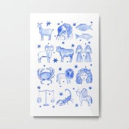 Blue Zodiac Metal Print