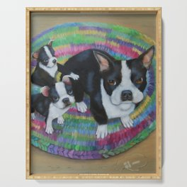 Boston Terrier and Puppies Serving Tray