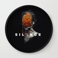 silence of the lambs Wall Clocks featuring Silence by Frank Moth