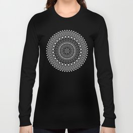 Black and White Feather Mandala Boho Hippie Long Sleeve T-shirt