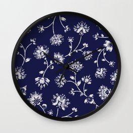 Indigo Floral Trail Wall Clock