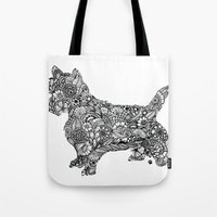 terrier Tote Bags featuring Terrier by PawPrints