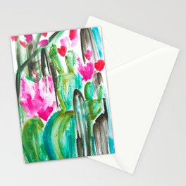 Pink Happy Plants Stationery Cards