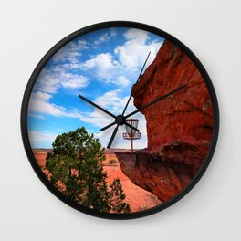 Disc Golf Basket in Moab Utah Wall Clock