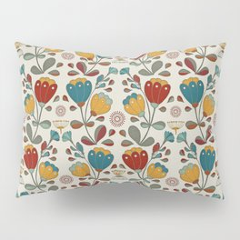 Vintage Ethno Flowers in red, blue and yellow on beige Pillow Sham