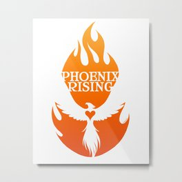 PHOENIX RISING orange with flames and heart center Metal Print
