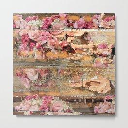 Worn Wood & Old Roses Metal Print