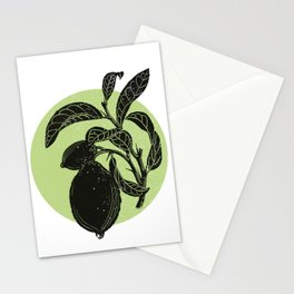 Limon tree and lime color circle Stationery Cards
