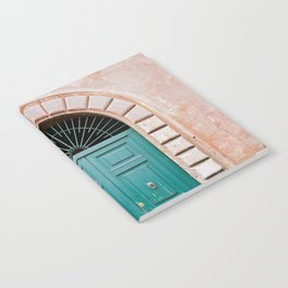 Turquoise Green door in Trastevere, Rome. Travel print Italy - film photography wall art colourful. Notebook