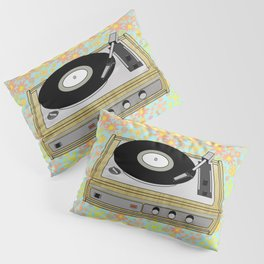 Retro Vibes Record Player Design in Yellow Pillow Sham