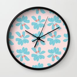 Wild Berries and Whorled Foliage Pattern Wall Clock
