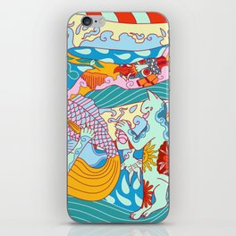 Cool cats and dragon with tattoos iPhone Skin