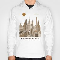 philadelphia Hoodies featuring Philadelphia skyline vintage by bri.buckley