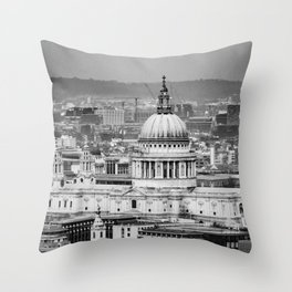 Aerial View of St Paul's Cathedral in Black & White Throw Pillow