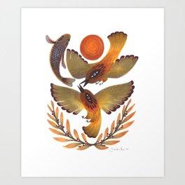 Fighting Birds Art Print