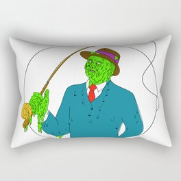 Mobster Fisherman Fly Rod Reel Grime Art Rectangular Pillow