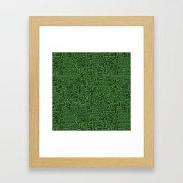 Circuit Board // Light on Dark Green Framed Art Print