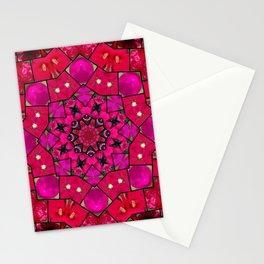 Garden mosaic kaleidoscope mandala - hot pinks Stationery Cards