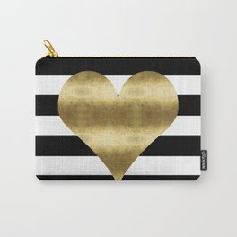 gold heart black and white stripe Carry-All Pouch