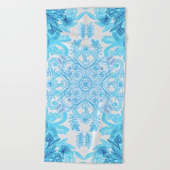 Symmetrical Pattern in Blue and Turquoise Beach Towel