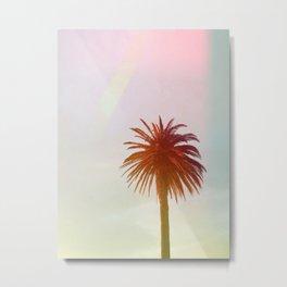 Tropical, Palm, Nature, Pink, Scandinavian, Minimal, Modern, Wall art Metal Print