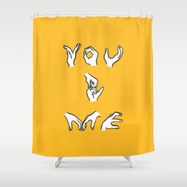 You & Me - yellow Shower Curtain