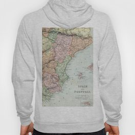 Vintage Map of Spain and Portugal Hoody