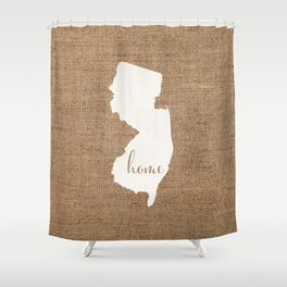 New Jersey is Home - White on Burlap Shower Curtain