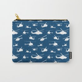 Helicopters on Sapphire Blue Carry-All Pouch