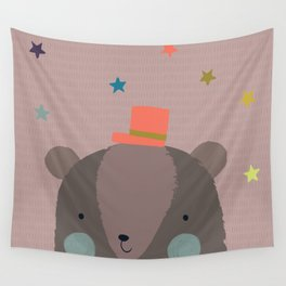 Big Bear and Bluebird Pink Wall Tapestry