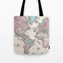 Vintage Map of The World (1855) Tote Bag