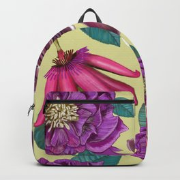 Passiflora and hellebore flower pattern green Backpack