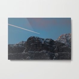 Plane Flying Over Mountains in Sunrise Metal Print