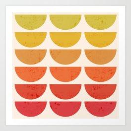 Scandinavian Art Midcentury Sunset Bowls 2 Art Print