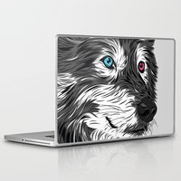 gray Laptop & iPad Skins featuring Gray wolf by Roland Banrevi