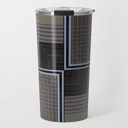 Biege Modern Block Design Travel Mug