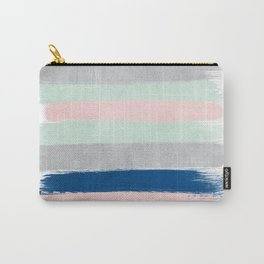 Minimal painted stripe pattern nursery decor trendy gender neutral colors Carry-All Pouch