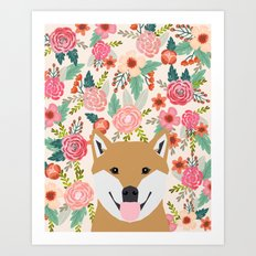 Shiba Inu florals spring summer bright girly hipster dog meme shiba ink puppy pet portraits Art Print