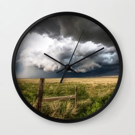 Aquamarine - Storm Over Colorado Plains Wall Clock
