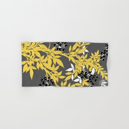 TREE BRANCHES YELLOW GRAY  AND BLACK LEAVES AND BERRIES Hand & Bath Towel