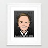 how i met your mother Framed Art Prints featuring Barney Stinson - How I Met Your Mother by Mathieu Marcou