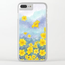 Stella D'Oro Daylily flowers over clouds Clear iPhone Case