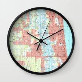 Jacksonville Beach and Atlantic Beach Florida Map Wall Clock