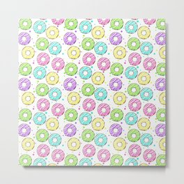 donuts with colored glaze. tasty pattern Metal Print
